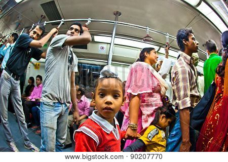 People In The Metro Yellow Line In Delhi Late Evening