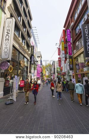 Unidentified Tourist Shopping In Myeongdong, South Korea
