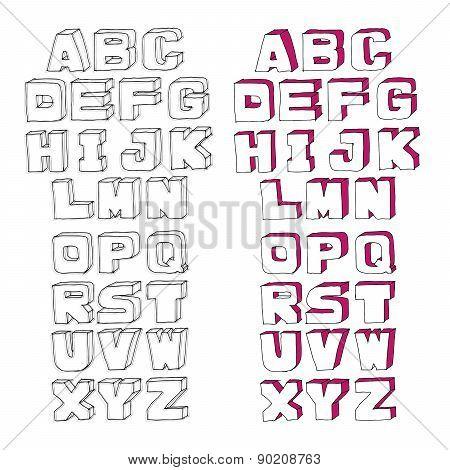 Modern Vector Watercolor Alphabet.