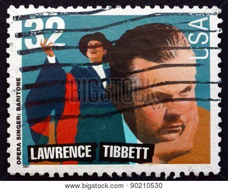 Postage Stamp Usa 1997 Lawrence Tibbett, Opera Singer