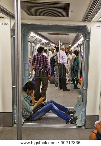 Delhi - Novemmer 11: Passengers Alighting Metro Train On November 11, 2011 In Delhi, India. Nealy 1
