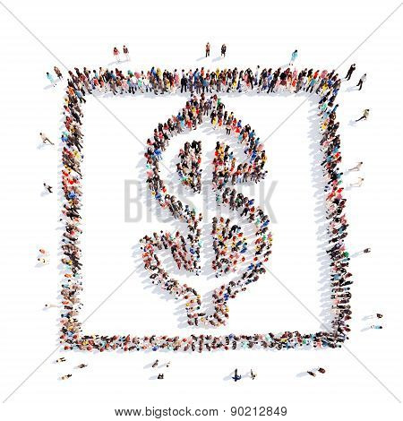 people in the form of money sign Dollar.
