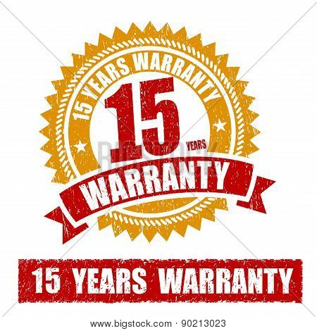 15 Years Warranty Rubber Stamp