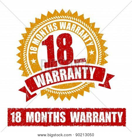 18 Months Warranty Rubber Stamp