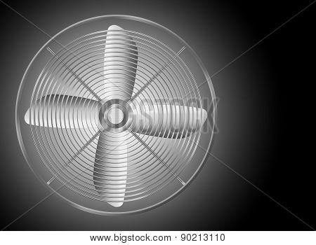 Modern Realistic Metallic Fan On Black Background.