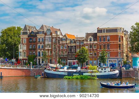 Amsterdam canal and typical houses, Holland