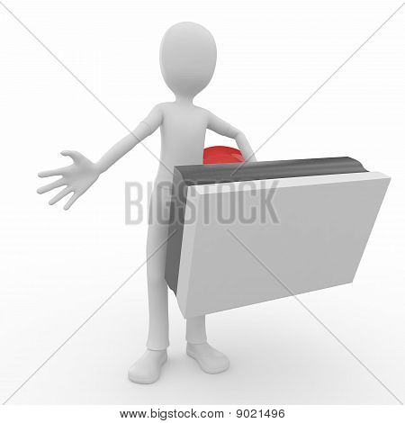 3D Man With Blank Stamp