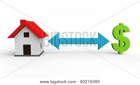 3d house and dollar symbol