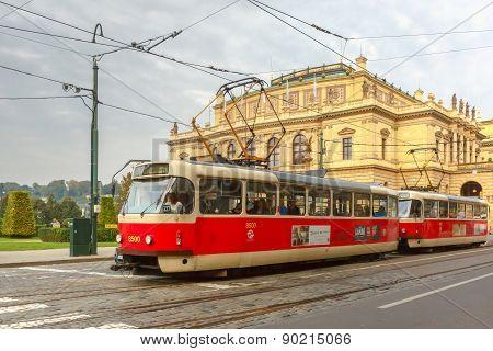 Red tram near National Theatre in Prague, Czech