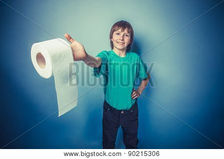 European-looking  boy  of ten  years with  toilet  paper on  a g