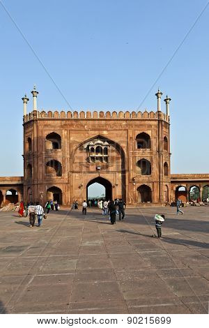 Worshipers Walk On Courtyard Of Jama Masjid Mosque In Delhi