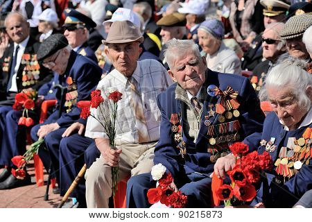 Orel, Russia - May 09, 2015: Celebration Of The 70Th Anniversary Of The Victory Day (wwii). War Vete