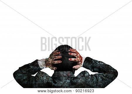 Rear View Businessman Hands Holding His Head With Dirty Body