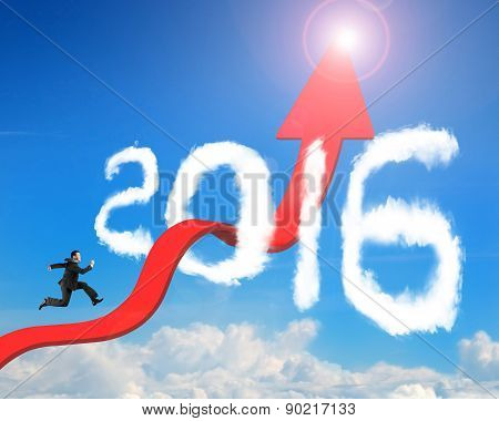 Businessman Running Arrow Upward Trend Line Through 2016 Clouds Sunlight