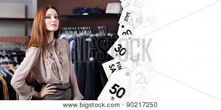 Lovely woman is in the shopping center, sale coupons background