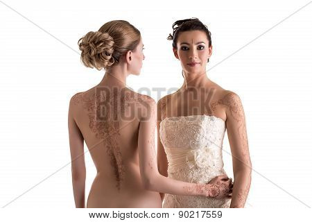 Sexy mehendi art. Topless woman and pretty bride