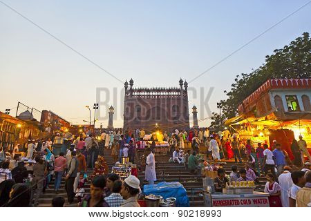 People At Chatta Chowk Bazaar  In Delhi, India.
