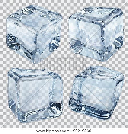 Transparent Light Blue Ice Cubes