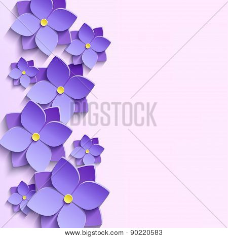 Background With Summer 3D Flowers Violets