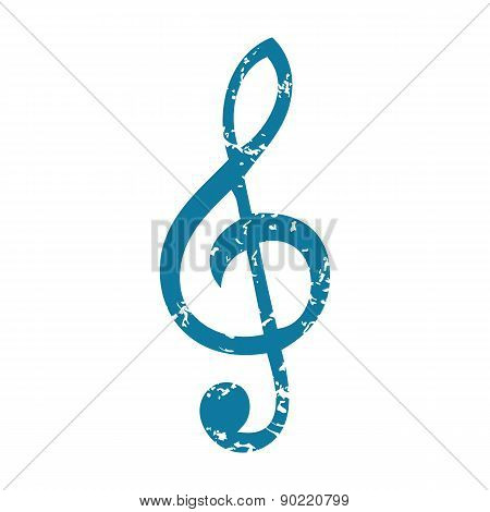 Treble clef grunge icon