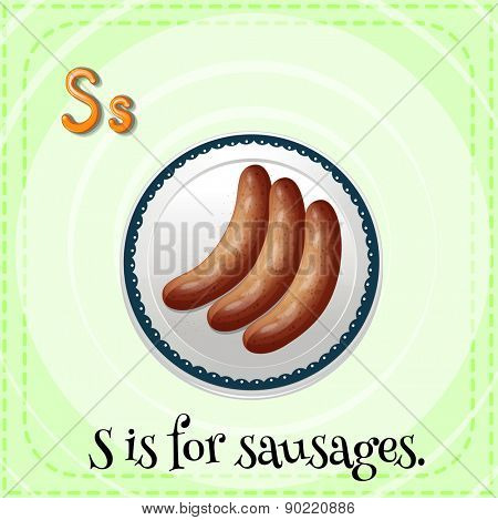 Flashcard letter S is for sausages with green background