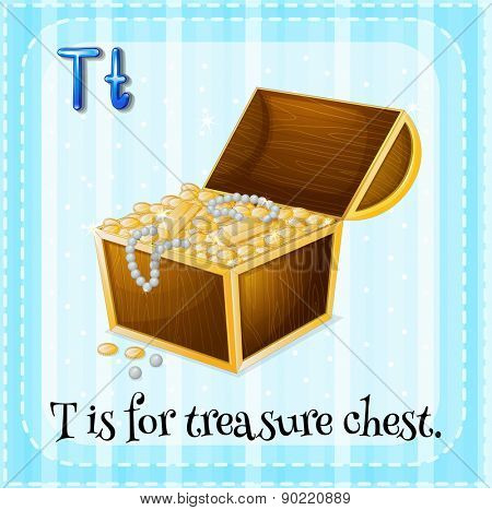 Flashcard letter T is for treasure chest