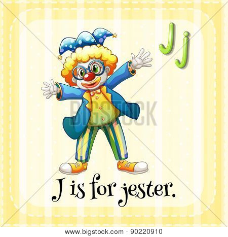 Flashcard letter J is for jester with yellow background