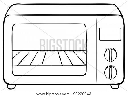 Closeup plain design of electronic microwave
