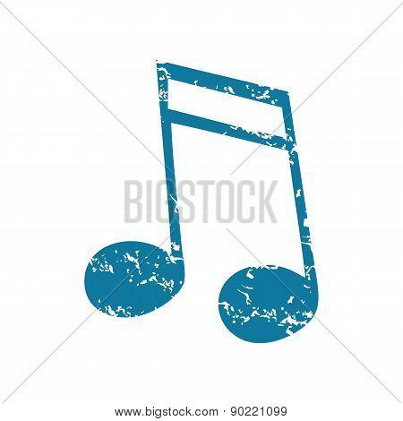 Sixteenth note grunge icon