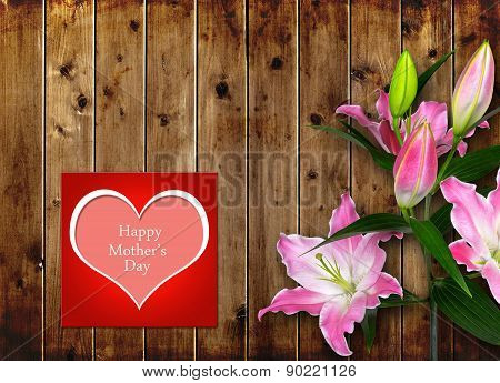 Mothers day card with pink Lily flower