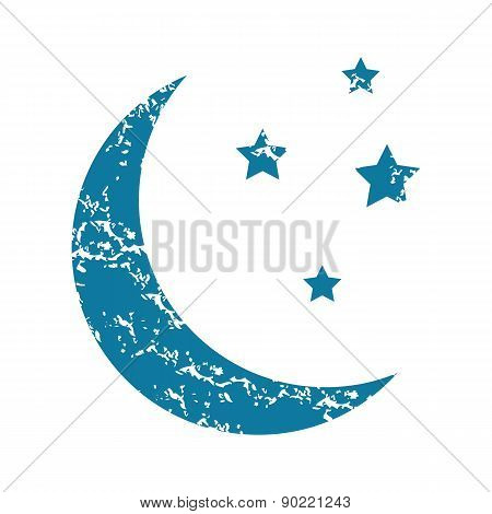 Crescent moon grunge icon