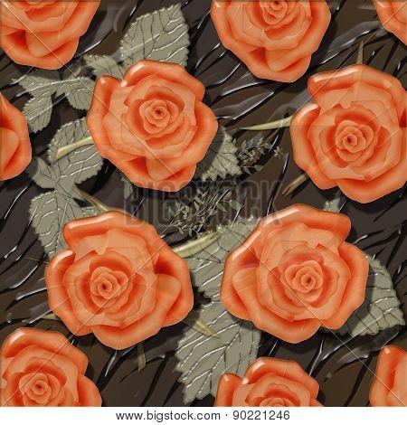 Orange roses seamless pattern background glass effect