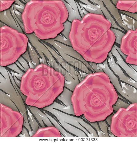 Roses design seamless pattern background glass effect