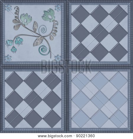 Floral pattern with flowers tile design background grey glass effect