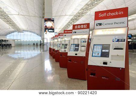 HONG KONG - MAY 06, 2015: Hong Kong International Airport. Hong Kong International Airport is the main airport in Hong Kong. It is located on the island of Chek Lap Kok.