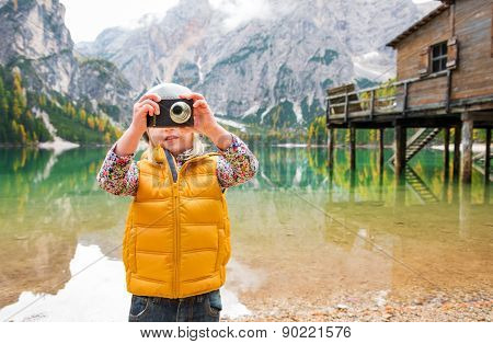 Blonde Girl At Lake Bries Taking A Photo With A Digital Camera