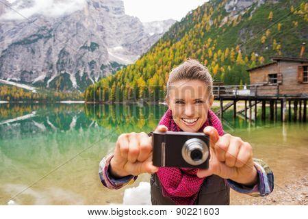 Woman On Lake Bries Aiming Camera Back At Viewer