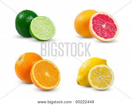 Collection Of Citrus  Slices  Orange, Lemon Yellow Lime, Lime And Grapefruit Isolated On White Backg
