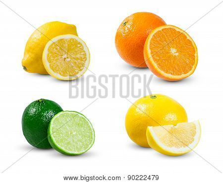 Collection Of Juicy Citrus  Slices  Orange, Lemon Yellow Lime, Lime And Grapefruit Isolated On White