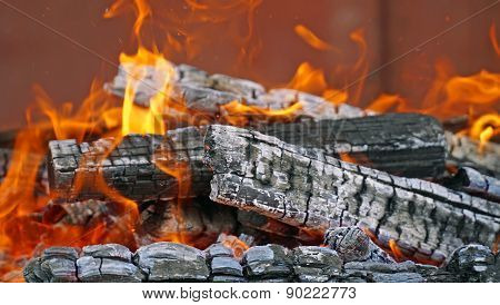 burning firewood in mongale Barbecue