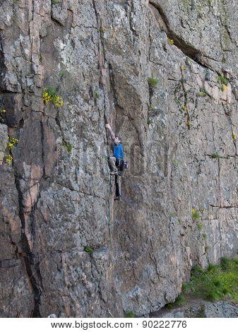 Beautiful Man Climbs A High Mountain.