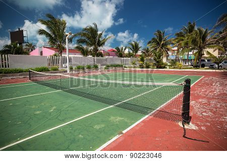 Outdoor Tennis Net At Court