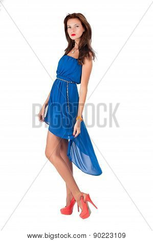 Beautiful young red haired woman in blue dress