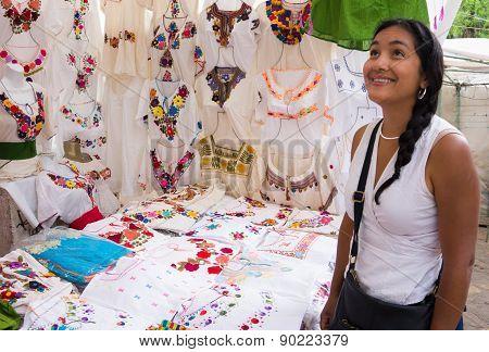 Hispanic woman in market