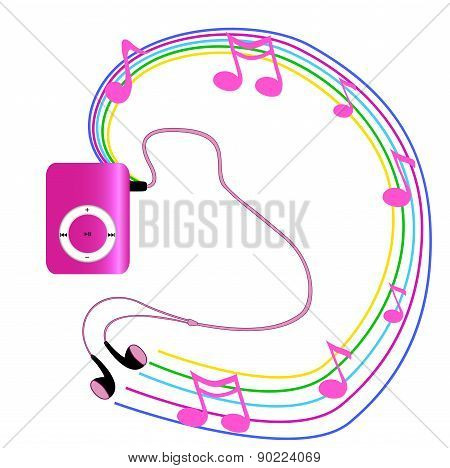 Real Pink Mp3 Player With Headphones Isolated On White Background.  Vector