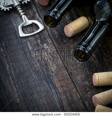 Bottle Of Wine,  Corks And Corkscrew