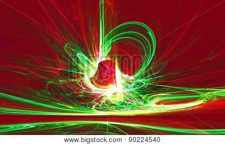 Mysterious alien form magnetic fields in the mysterious night sky. Fractal art graphics