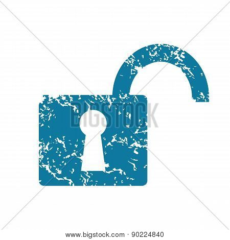 Open padlock grunge icon