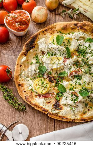 Pizza Bianco With Rosemary And Pancetta