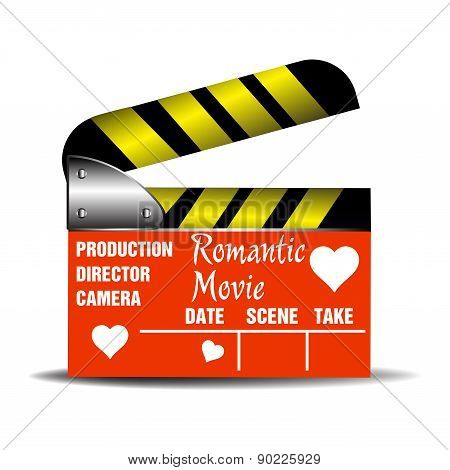 Romantic movie clapboard